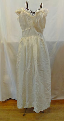 c1920 vintage women's nightgown with lace, off white slip, silk blend lingerie