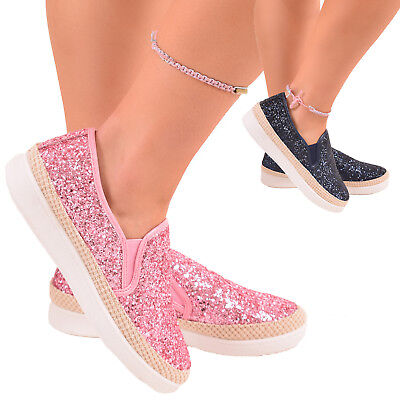 Ladies Girls Glitter Trainers Pumps Sneakers Summer Slip On Fashion Shoes Sizes