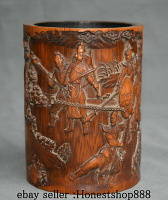15CM Old Chinese Dynasty Bamboo Carving Soldier Man People Brush Pot Pencil Vase