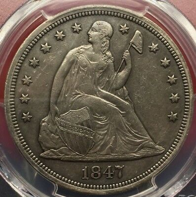 1847 Seated Liberty Silver Dollar Pcgs Xf Details  Genuine Cleaning