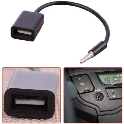 Black AUX MP3 3.5mm Male Audio Plug Jack To USB 2.0 Female Converter Cord Cable