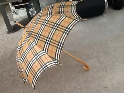 Vintage Authentic Burberry Walking Umbrella Check with Wood Handle TLC
