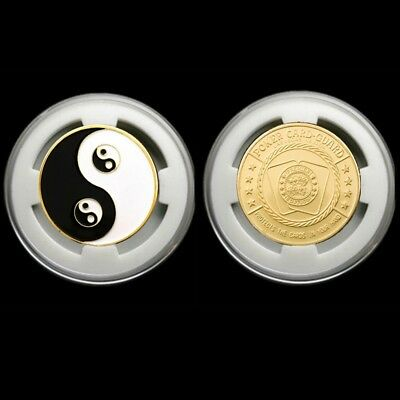 Souvenir Coin Chinese Yin And Yang Eight Diagrams Tai Chi Taoist Chip CoinW/Box