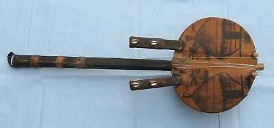 Chinese Musical Instrument, Light Wood, Leather, Shells