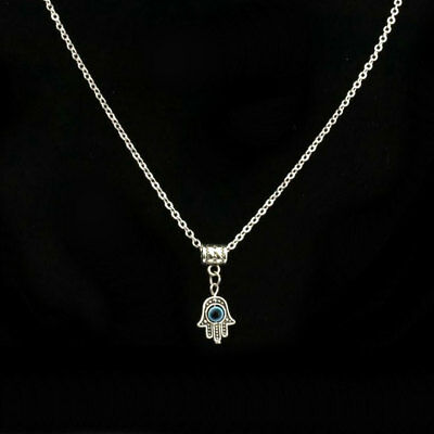 TINY HAMSA HAND OF FATIMA NECKLACE Kabbalah Evil Eye Charm Good Luck Protection