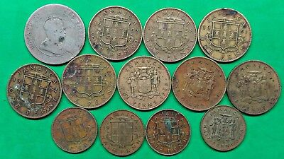 Lot of 14 Different Old British Jamaica Coins 1952-1967 Problems !!