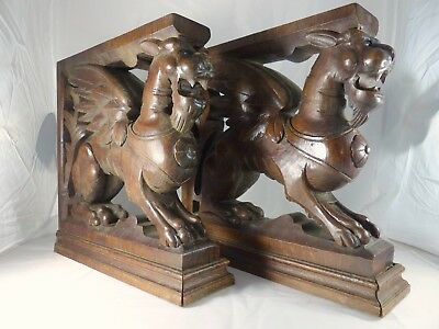 PAIR Carved Wood Griffin Figures Supports for Cabinetry 19th Cent. RARE Console