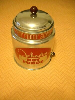 Vintage Johnston's Hot Fudge Warmer-Clean Working Condition Dec.1950