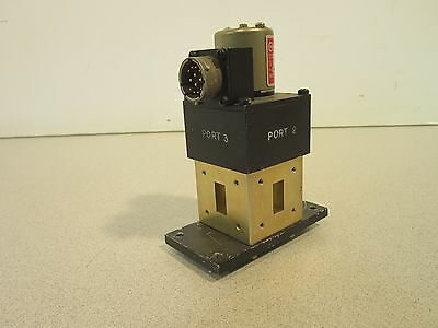 X-Band Wave Guide Switch 4 Part SM75-4PL3-3, 117VAC, Appears Unused, Elec/Manual