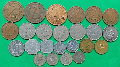 Lot of 24 Different British Caribbean States Territories Coins 1955-2013 !!