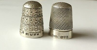 Two Chester Solid Silver Thimbles Charles Horner Hallmarked