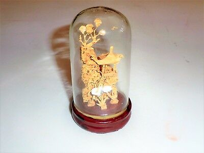 Chinese Hand Carved Cork Art Diorama In A Glass Enclosure On Wood Base Pretty