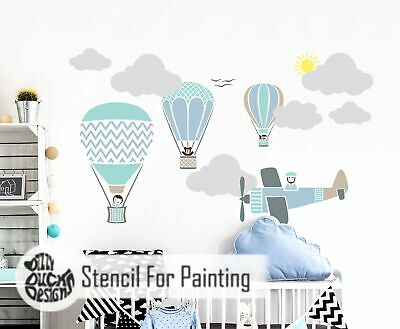 HOT AIR BALLOON RACE SET 8 Stencils Boy or Girl Room - Wall Stencil for Painting