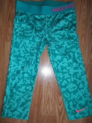 Girl's Nike Pro Dri-Fit Athletic Compression Capri Leggings Size M Green Print