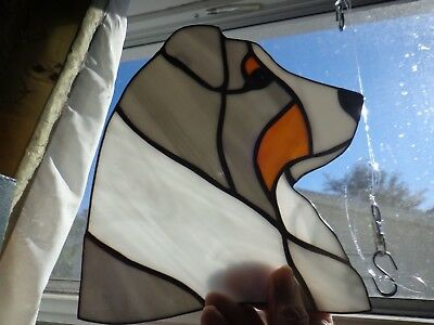 STAINED GLASS DOG - 3 australian shepherd heads - 1 blu. m, 1 black tri and 1 tr