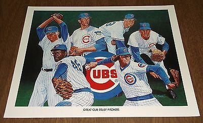 1984 Unocal Chicago Cubs Illustration Print - Great Cub Relief Pitchers - Smith