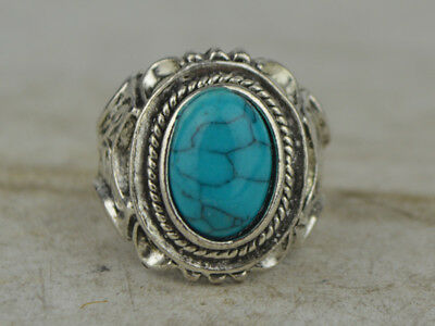 OLD Tibet Silver&Turquoise Handmade Exquisite Ring ***