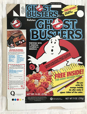 Vintage 1986 1980's Ralston Ghostbusters Cereal Box Factory Flat Ghost Decoder