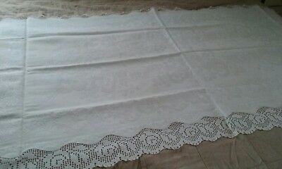 Antique Cream Matelasse Double Pillow Lay Over ~ Hand Crocheted Edging