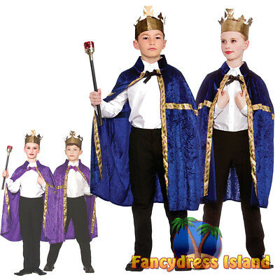 Deluxe King Queen Robe Cloak Royalty Historical Childs Kids Fancy Dress Costume