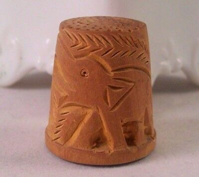 Vintage Carved Sandalwood Thimble Elephants