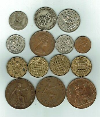 Lot of 14 Different Old British Coins 1921-1971 Some Silver!