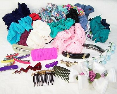 Vintage 80'S Hair Accessories LOT Scrunchies Clips Combs Banana Clip Colorful