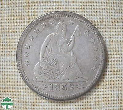 1853 Seated Liberty Quarter - Very Fine Details