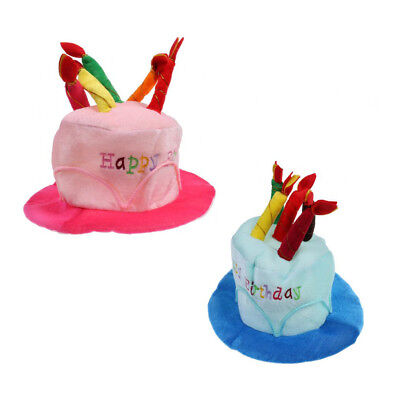 2pcs Unisex Happy Birthday Cake Hat With Candles Fancy Dress Party Accessory