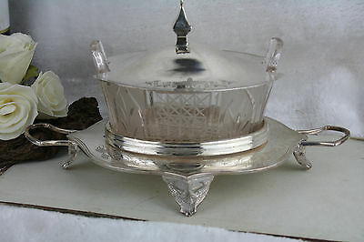 Vtg  antique victorian Butter dish glass superior silver plate co usa