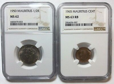 Lot/2 1950/1965 Mauritius 1/2 Rupee/1 Cent Ngc Ms 62/ms 63 Rb