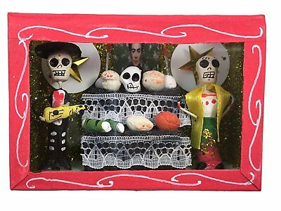 Day of the Dead Sugar Skull and Mexican Ofrenda in a Glass Box -Catrina