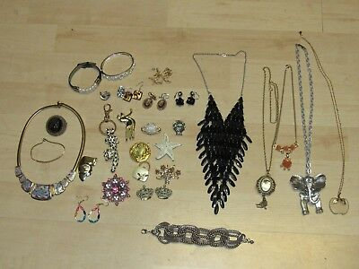 Nice Lot Of Estate Jewelry  Various Necklaces Pins Earrings Key Chain