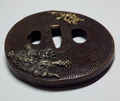 Tsuba Sword fitting Oval shape Dragons & Flowers decorated