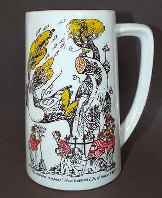 Vintage NEW ENGLAND LIFE INSURANCE COMPANY Advertising Cartoon Mug Cup Stein USA