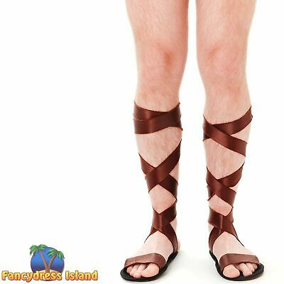MEDIEVAL ROMAN GLADIATOR WARRIOR SANDALS - mens womens fancy dress accessory