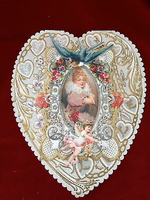 Antique Victorian LARGE Valentine's Day Card w/Heart Shaped Paper Lace & Scraps