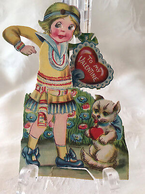 Vintage German Girl with Moveable Eyes, Hands, Cat Mechanical Valentine Card