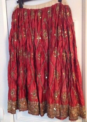 Antique Asian Indian Embroidered Wedding Skirt