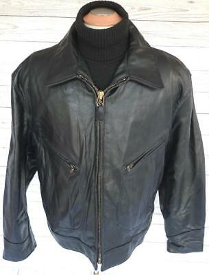 """✰ BIG Sz 50! SCHOTT BLACK LEATHER Motorcycle JACKET 52"""" Chest RACER THICK EXC! ✰"""