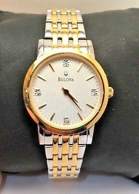 Bulova Quartz Ladies Diamond Two Tone Bracelet Dress Watch 98P115-H30