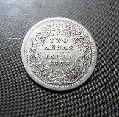 British India - Victoria Queen - Two Annas - 1878 - 2 Annas - Silver Coin