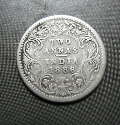 British India - Victoria Queen - Two Annas - 1886 - 2 Annas - Silver Coin