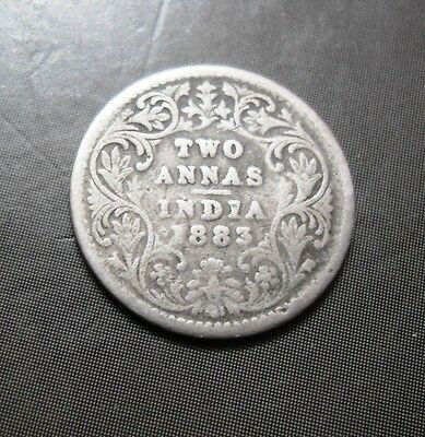 British India - Victoria Queen - Two Annas - 1883 - 2 Annas - Silver Coin