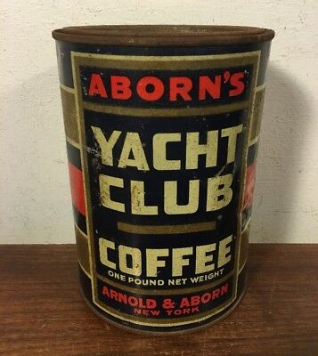 Vintage Yacht Club Coffee Tin Can Yachting Flags New York Pry Top Lid 1 LB