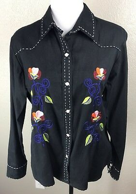 5f54a4ccc9968f Panhandle Slim Women's Large Rodeo Shirt Black Snaps Embroidered Western  Floral