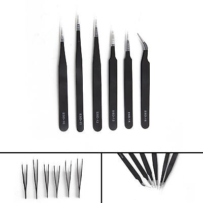 6 PIECE  Professional Coated Precision Tweezers Set Stainless Steel Non Magnetic
