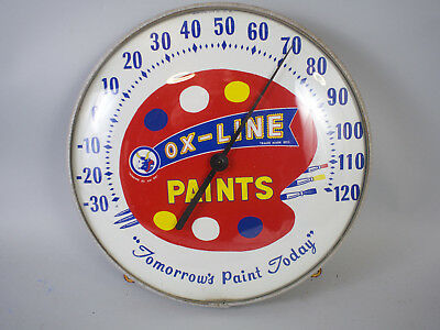 """Vintage Ox Line Paints 12"""" Round Glass Dome Advertising Outdoor Thermometer Sign"""