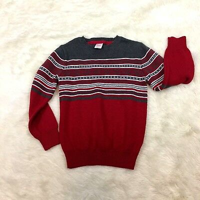 Gymboree Boys Fair Isle Sweater Size S 5 6 Red & Gray Cotton Blend