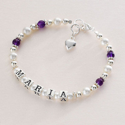 Personalised Bracelet for Girls in Sterling Silver, Amethyst & Pearls, Any Name!